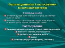 Фармакодинаміка і застосування М-холіноблокаторів Фармакодинаміка Зниження фу...