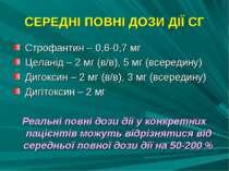 СЕРЕДНІ ПОВНІ ДОЗИ ДІЇ СГ Строфантин – 0,6-0,7 мг Целанід – 2 мг (в/в), 5 мг ...