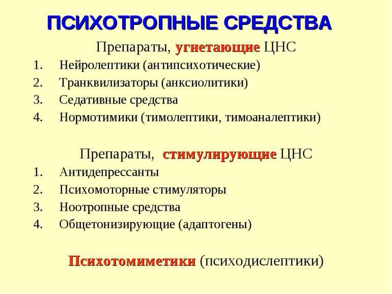 ПСИХОТРОПНЫЕ СРЕДСТВА Препараты, угнетающие ЦНС Нейролептики (антипсихотическ...