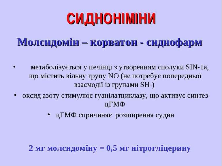 СИДНОНІМІНИ Молсидомін – корватон - сиднофарм метаболізується у печінці з утв...