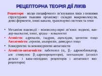 РЕЦЕПТОРНА ТЕОРІЯ ДІЇ ЛІКІВ Рецептори - місця специфічного зв'язування ліків ...