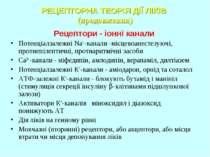 РЕЦЕПТОРНА ТЕОРІЯ ДІЇ ЛІКІВ (продовження) Рецептори - іонні канали Потенціалз...