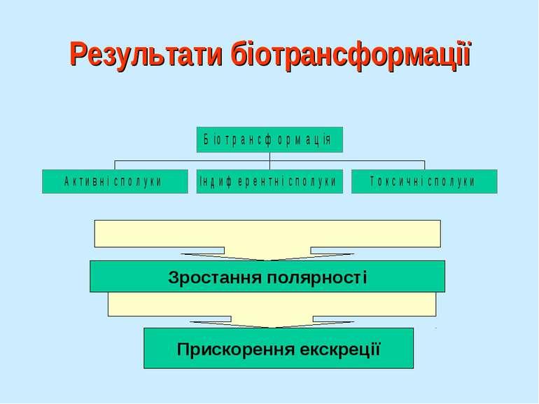 Результати біотрансформації Зростання полярності Прискорення екскреції
