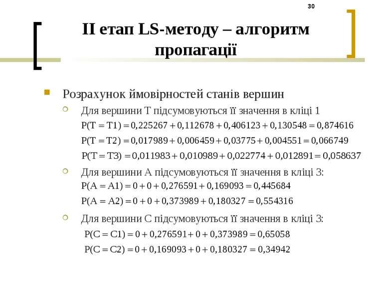 Розрахунок ймовірностей станів вершин Для вершини T підсумовуються її значенн...