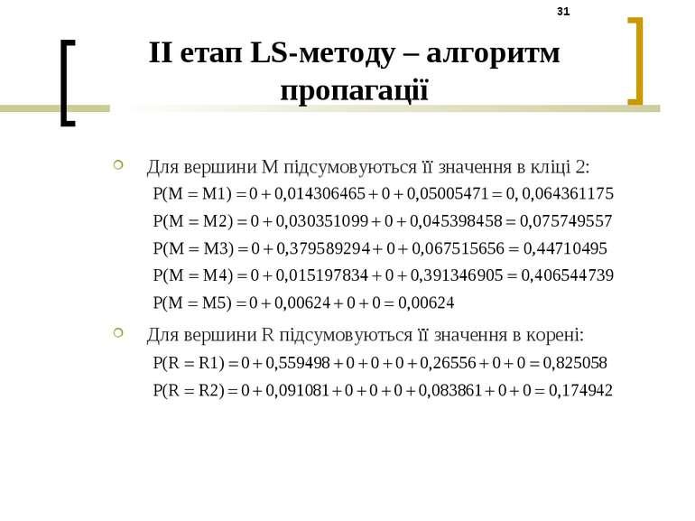 Для вершини M підсумовуються її значення в кліці 2: Для вершини R підсумовуют...