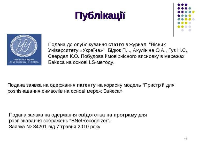 """Публікації Подана до опублікування стаття в журнал """"Вісник Університету «Укра..."""