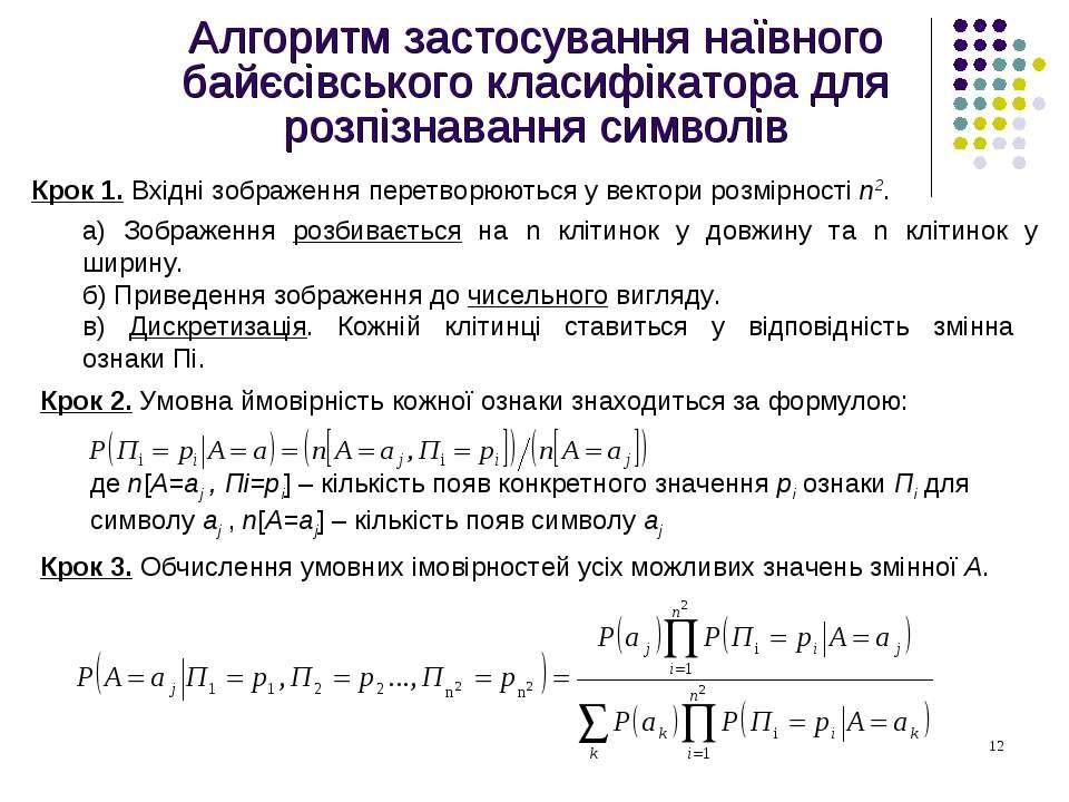 Алгоритм застосування наївного байєсівського класифікатора для розпізнавання ...