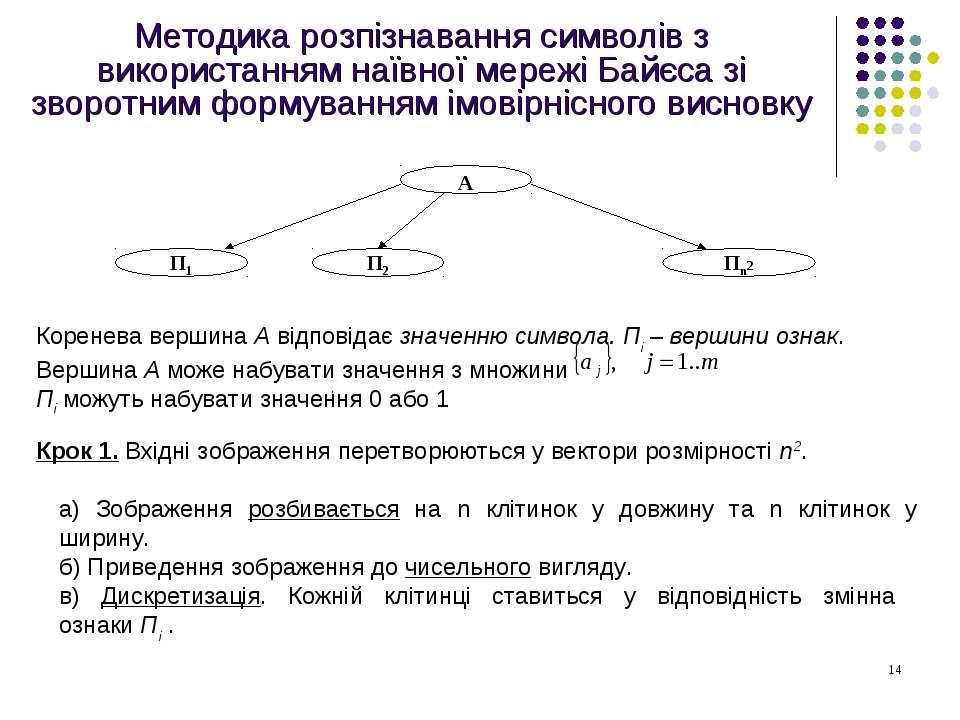 Методика розпізнавання символів з використанням наївної мережі Байєса зі звор...
