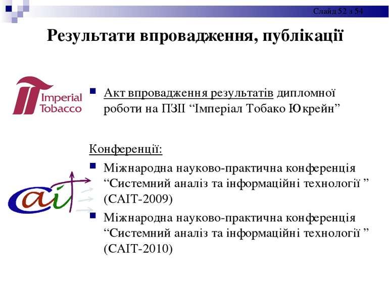 Результати впровадження, публікації Акт впровадження результатів дипломної ро...