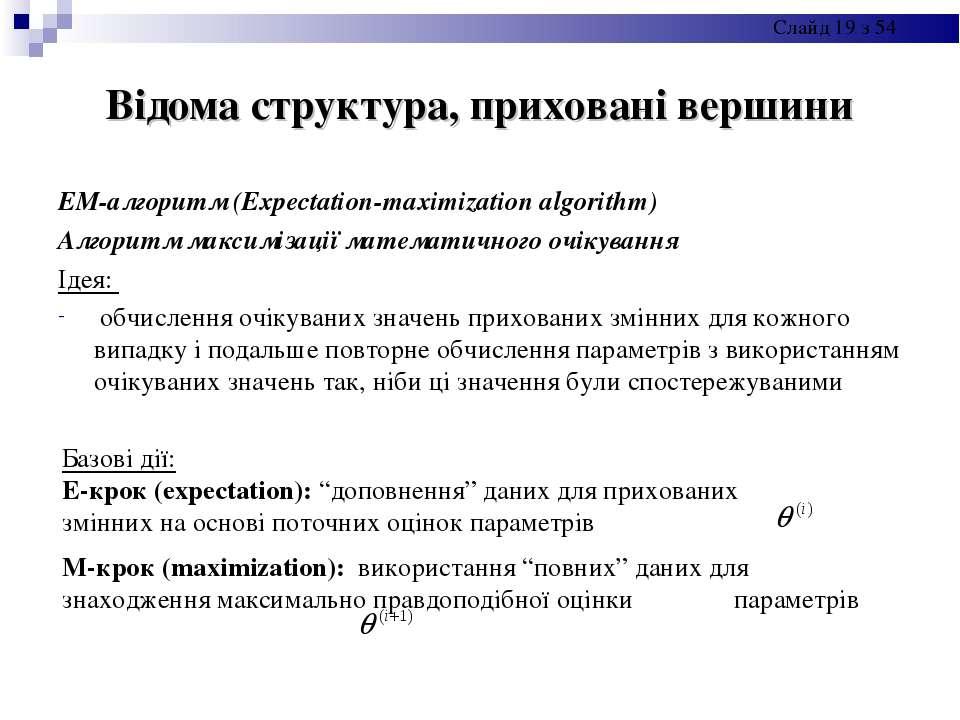Відома структура, приховані вершини ЕМ-алгоритм (Expectation-maximization alg...