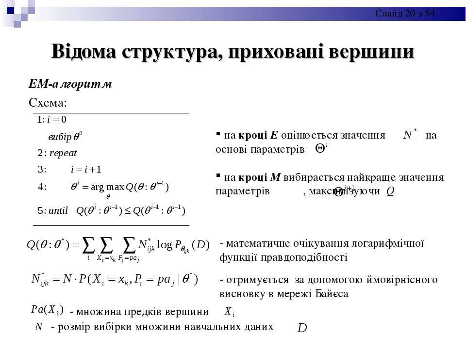 Відома структура, приховані вершини ЕМ-алгоритм Схема: - математичне очікуван...