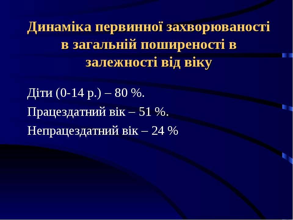 Динаміка первинної захворюваності в загальній поширеності в залежності від ві...
