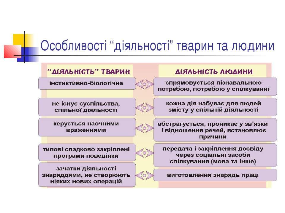 """Особливості """"діяльності"""" тварин та людини"""