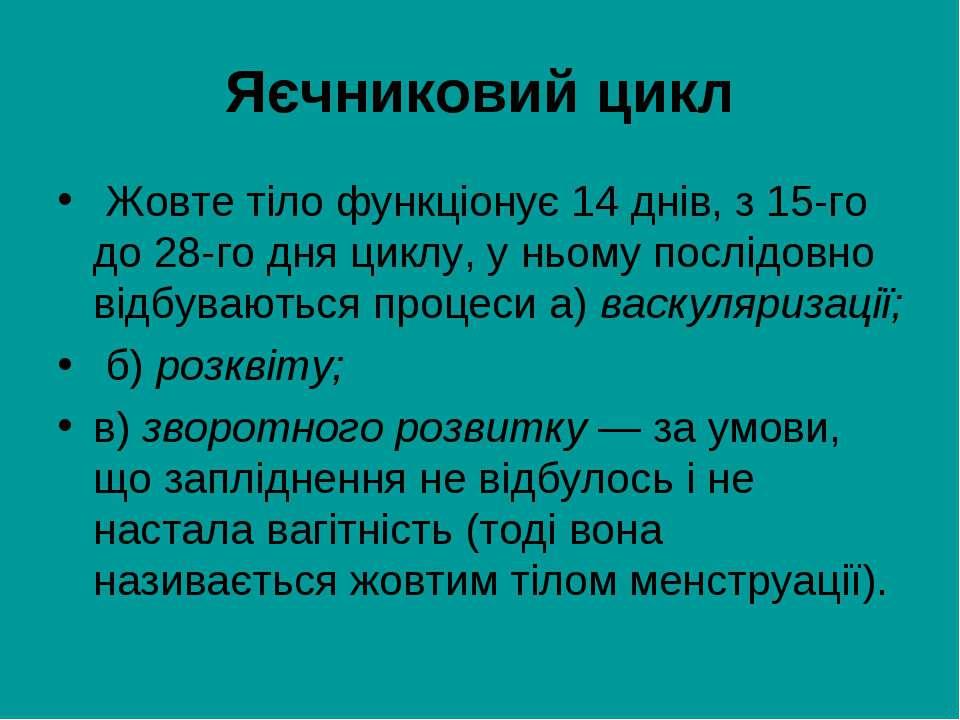 Яєчниковий цикл Жовте тіло функціонує 14 днів, з 15-го до 28-го дня циклу, у ...