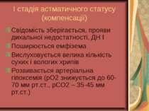 І стадія астматичного статусу (компенсації) Свідомість зберігається, прояви д...