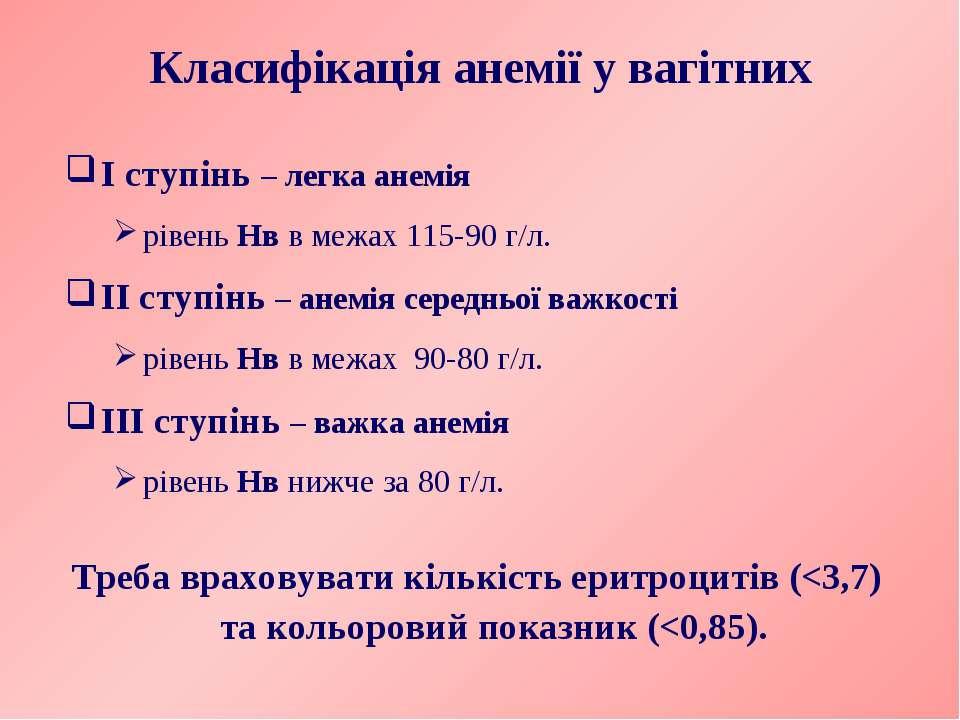 Класифікація анемії у вагітних І ступінь – легка анемія рівень Нв в межах 115...