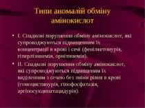 Типи аномалій обміну амінокислот І. Спадкові порушення обміну амінокислот, як...