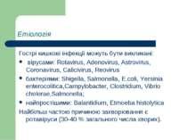 Етіологія Гострі кишкові інфекції можуть бути викликані: вірусами: Rotavirus,...
