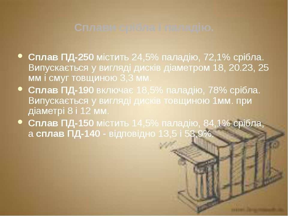 Сплави срібла і паладію. Сплав ПД-250 містить 24,5% паладію, 72,1% срібла. Ви...