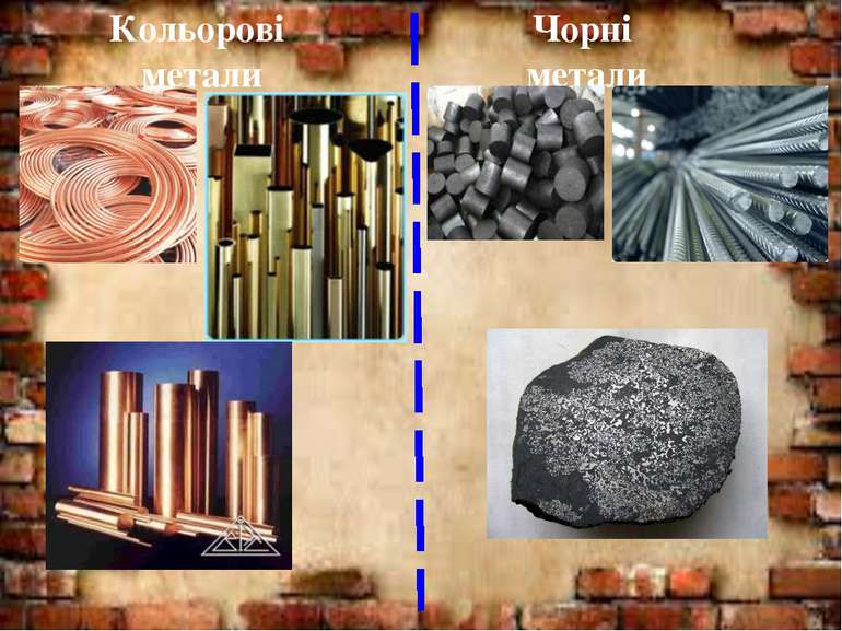 Кольорові метали Чорні метали