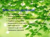 Властивості деревини: + Висока питома міцність + Хороша оброблюваність + Здат...