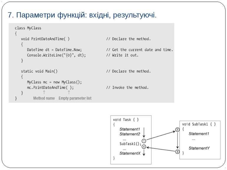 7. Параметри функцій: вхідні, результуючі.