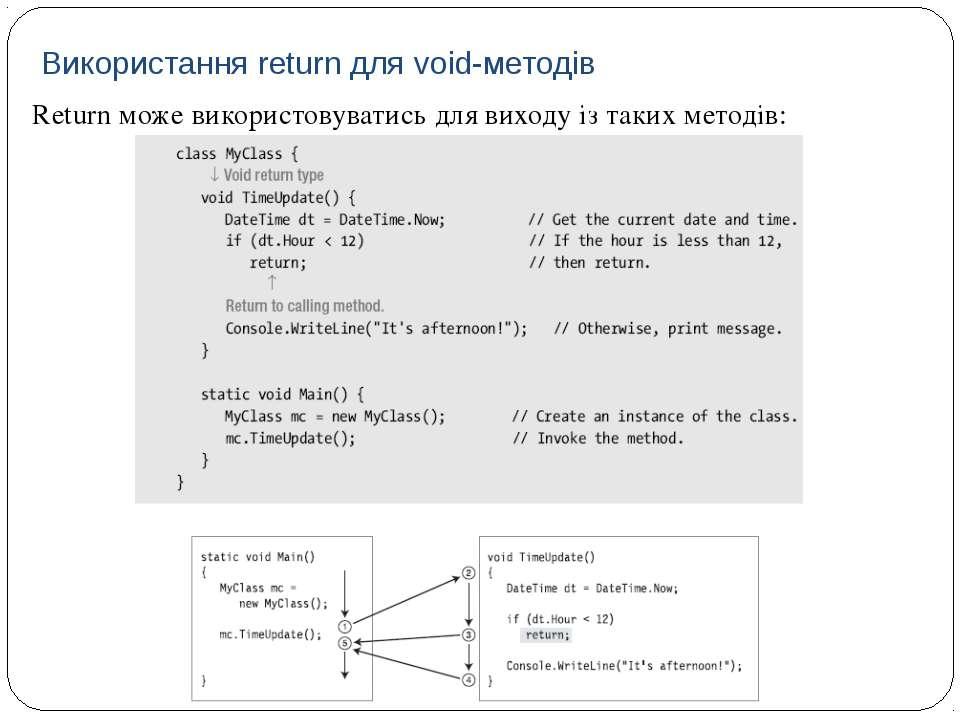 Return може використовуватись для виходу із таких методів: Використання retur...