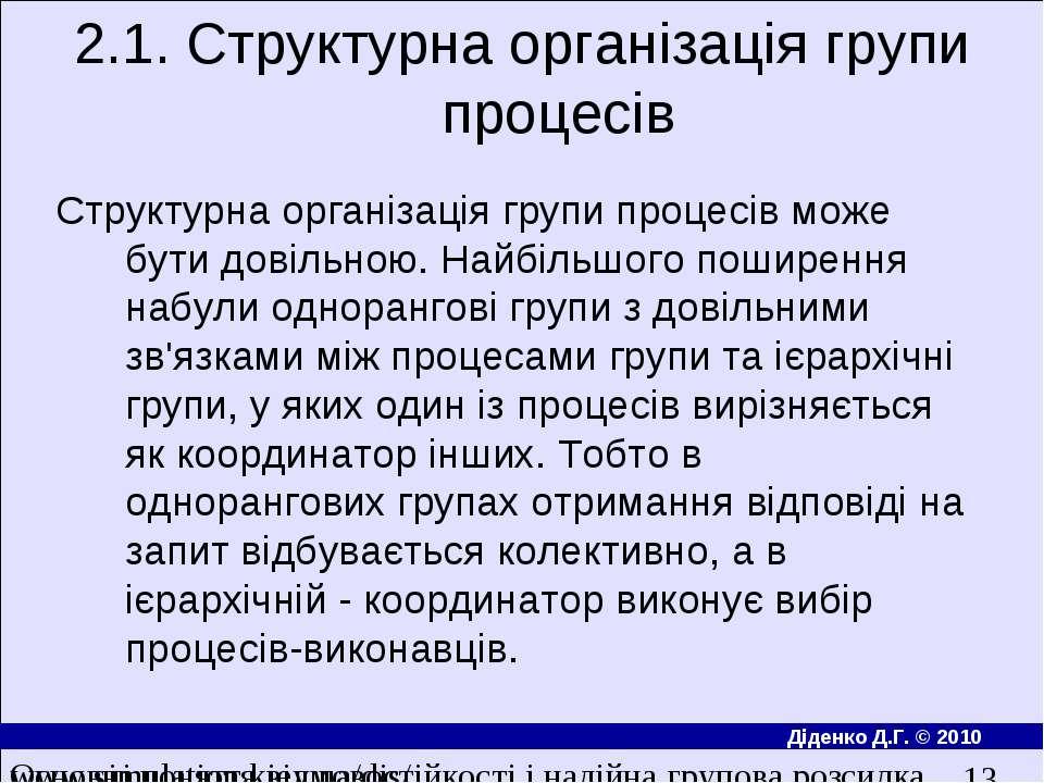 2.1. Структурна органiзацiя групи процесiв Структурна органiзацiя групи проце...