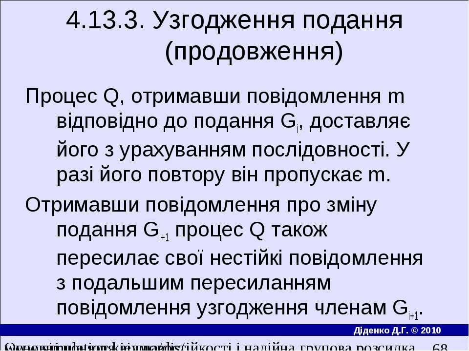 4.13.3. Узгодження подання (продовження) Процес Q, отримавши повiдомлення m в...
