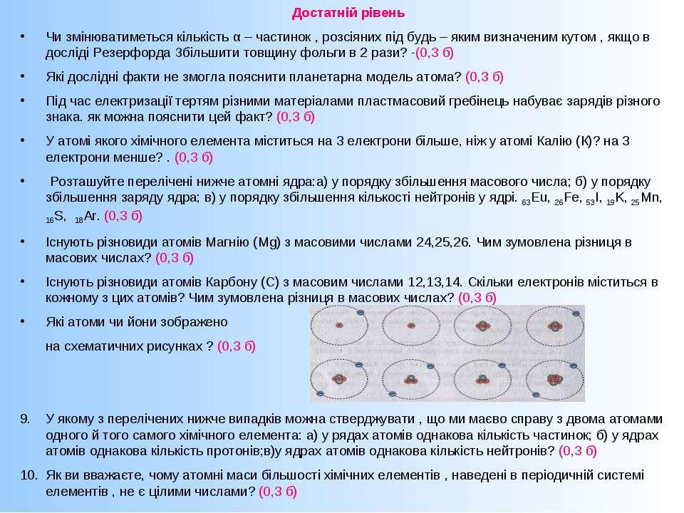 Достатній рівень Чи змінюватиметься кількість α – частинок , розсіяних під бу...