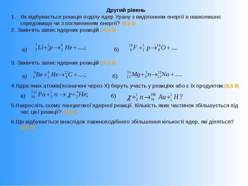 Другий рівень Як відбувається реакція поділу ядер Урану з виділенням енергії ...