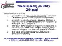 Умови прийому до ВНЗ у 2014 році Мінімальна кількість балів: для здобуття рів...
