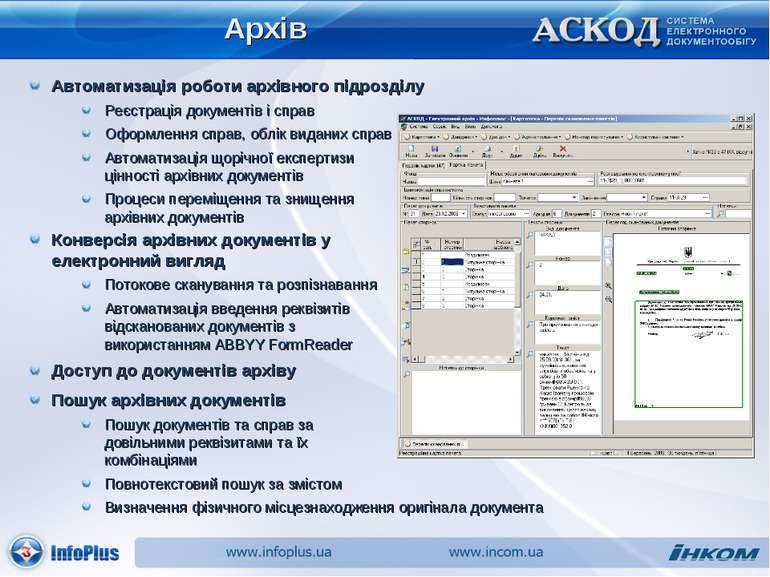 Архів Автоматизація роботи архівного підрозділу Реєстрація документів і справ...