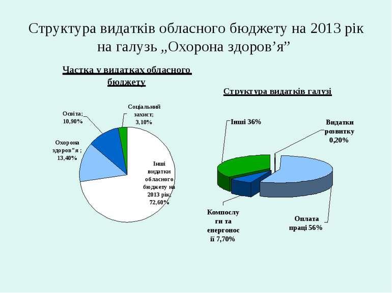 """Структура видатків обласного бюджету на 2013 рік на галузь """"Охорона здоров'я"""""""