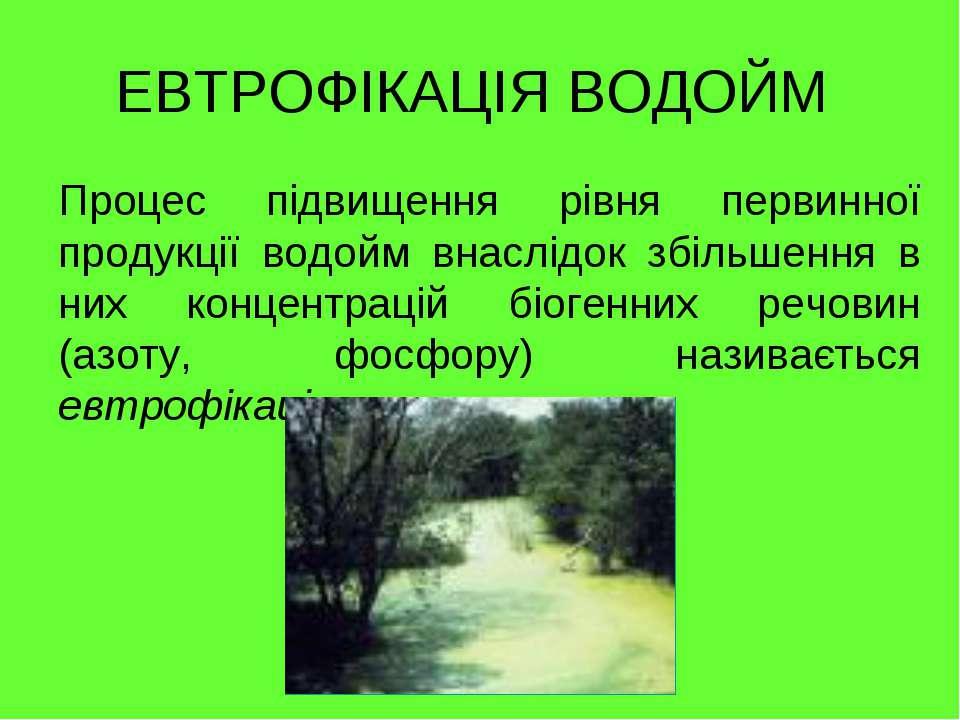 ЕВТРОФІКАЦІЯ ВОДОЙМ Процес підвищення рівня первинної продукції водойм внаслі...