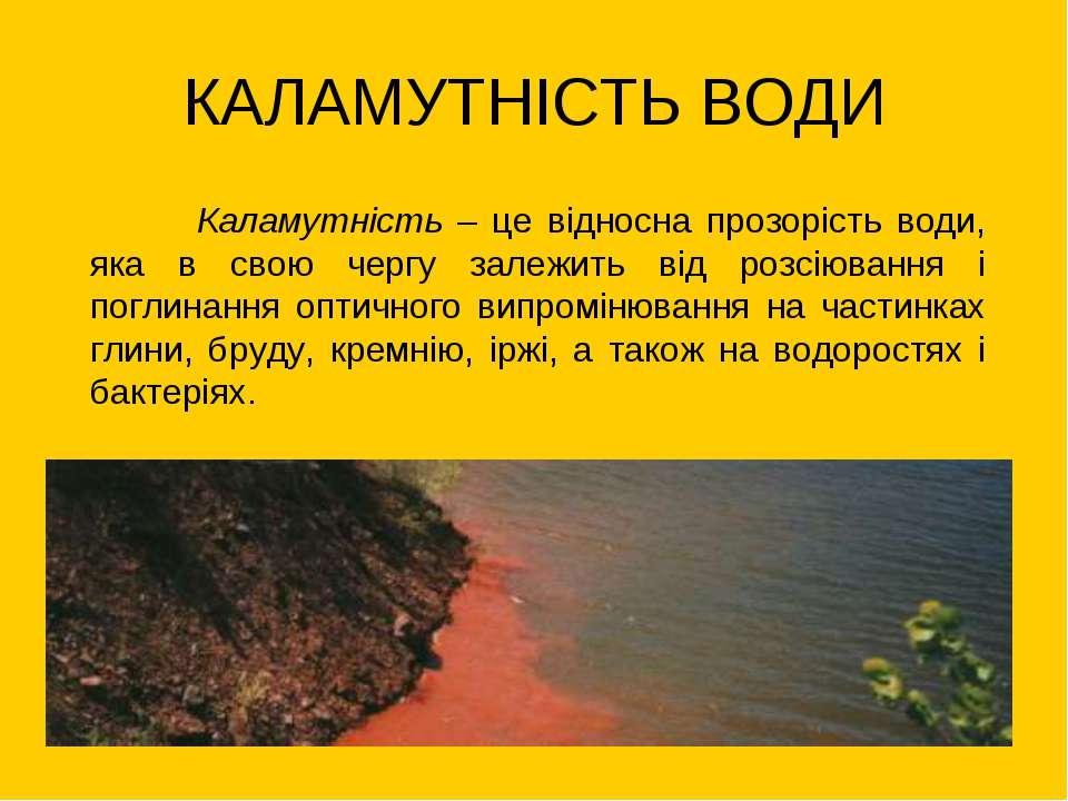 КАЛАМУТНІСТЬ ВОДИ Каламутність – це відносна прозорість води, яка в свою черг...