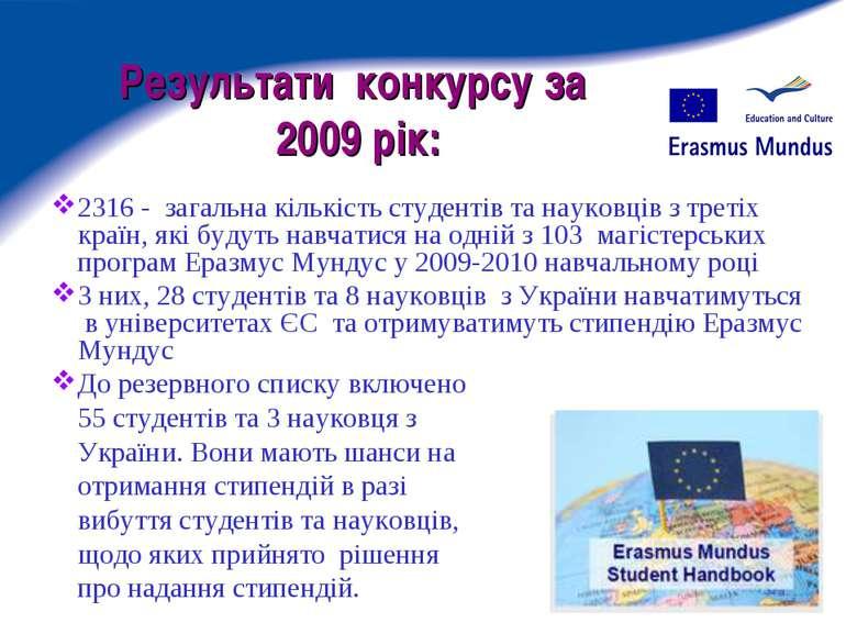 Результати конкурсу за 2009 рік: 2316 - загальна кількість студентів та науко...