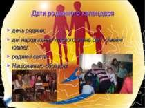 Дати родинного календаря день родини; дні народження кожного члена сім'ї; сім...
