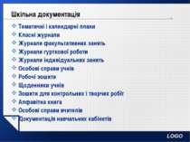 Шкільна документація Тематичні і календарні плани Класні журнали Журнали факу...
