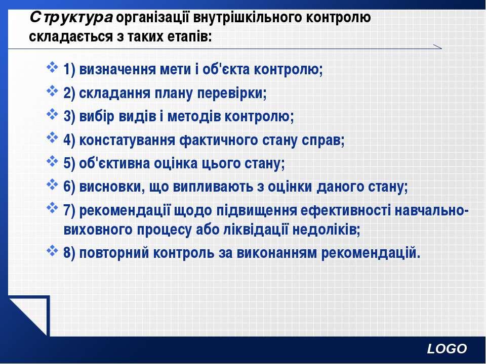 Структура організації внутрішкільного контролю складається з таких етапів: 1)...