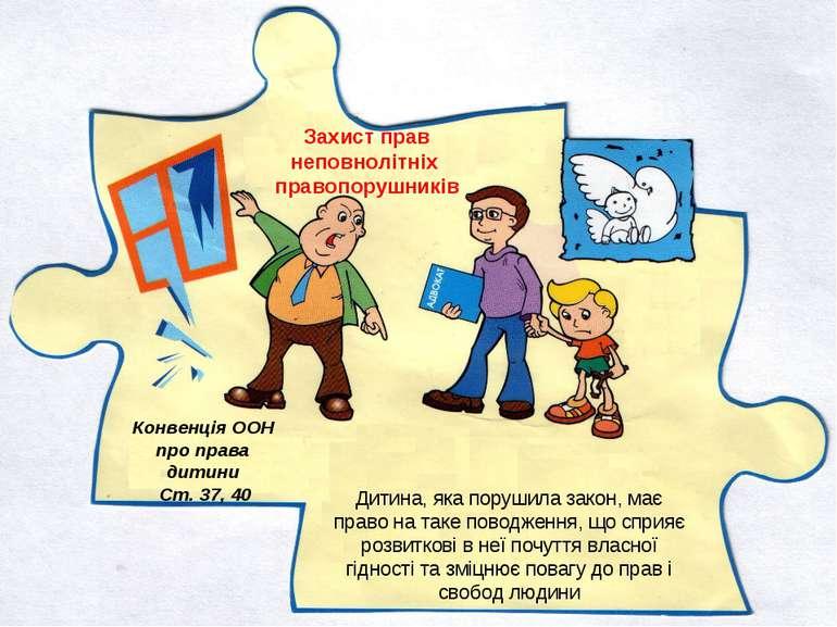 Конвенція ООН про права дитини Ст. 37, 40 Захист прав неповнолітніх правопору...