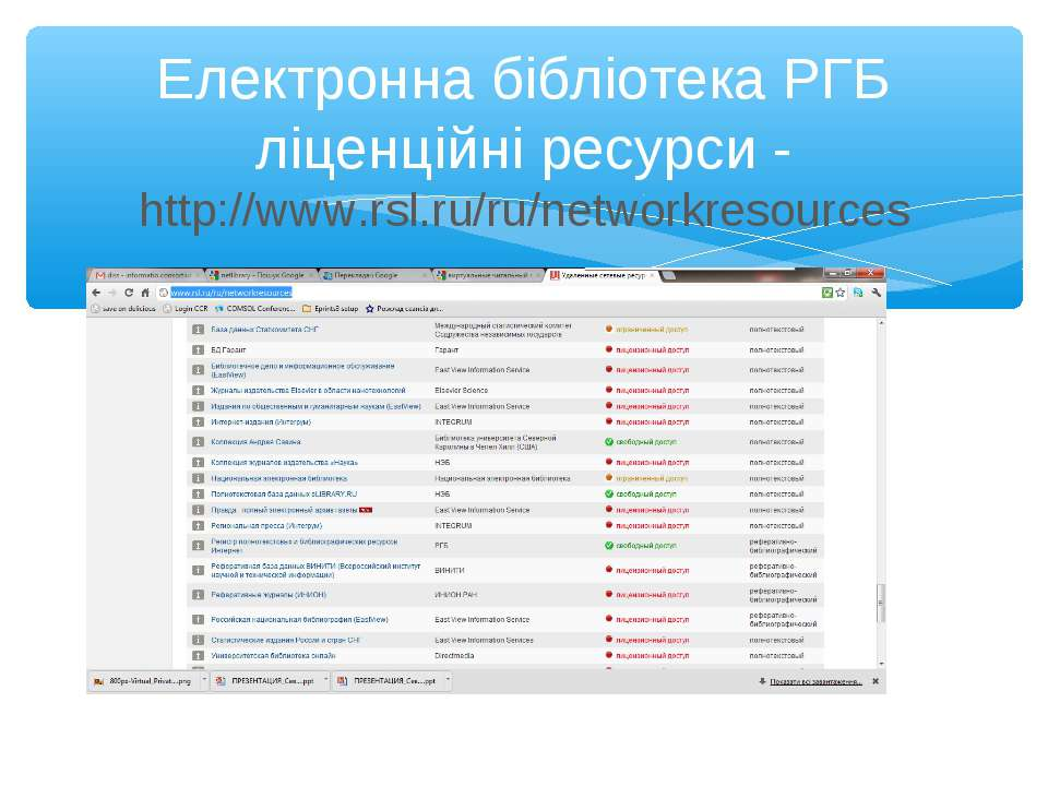 Електронна бібліотека РГБ ліценційні ресурси - http://www.rsl.ru/ru/networkre...