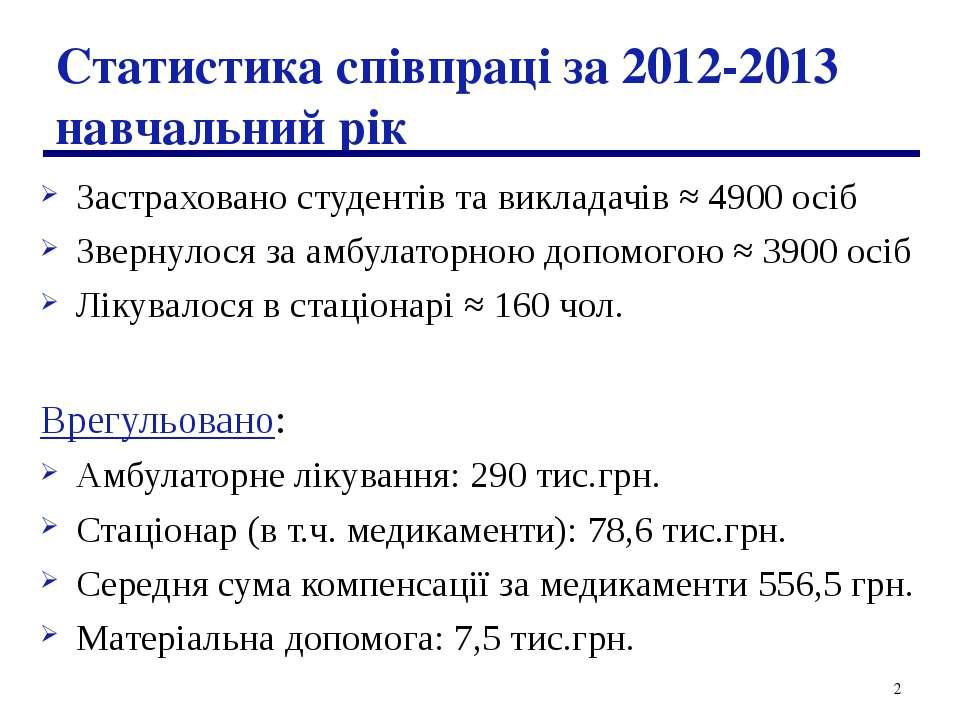 * Статистика співпраці за 2012-2013 навчальний рік Застраховано студентів та ...