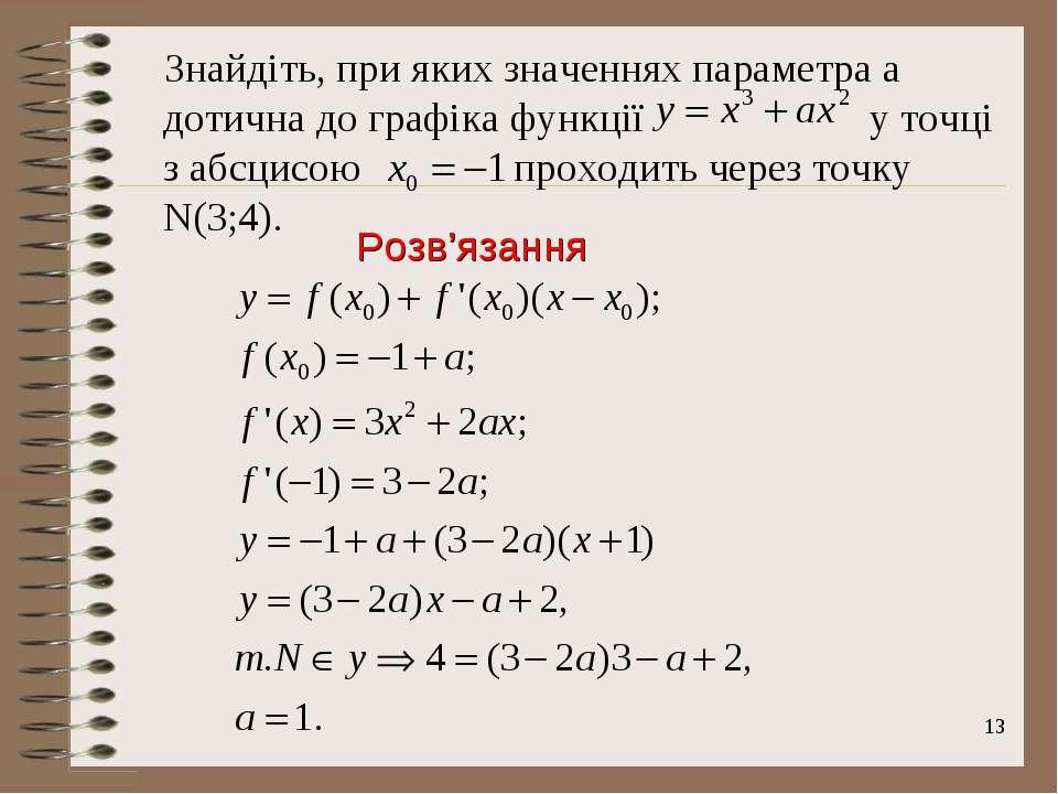 * Знайдіть, при яких значеннях параметра а дотична до графіка функції у точці...