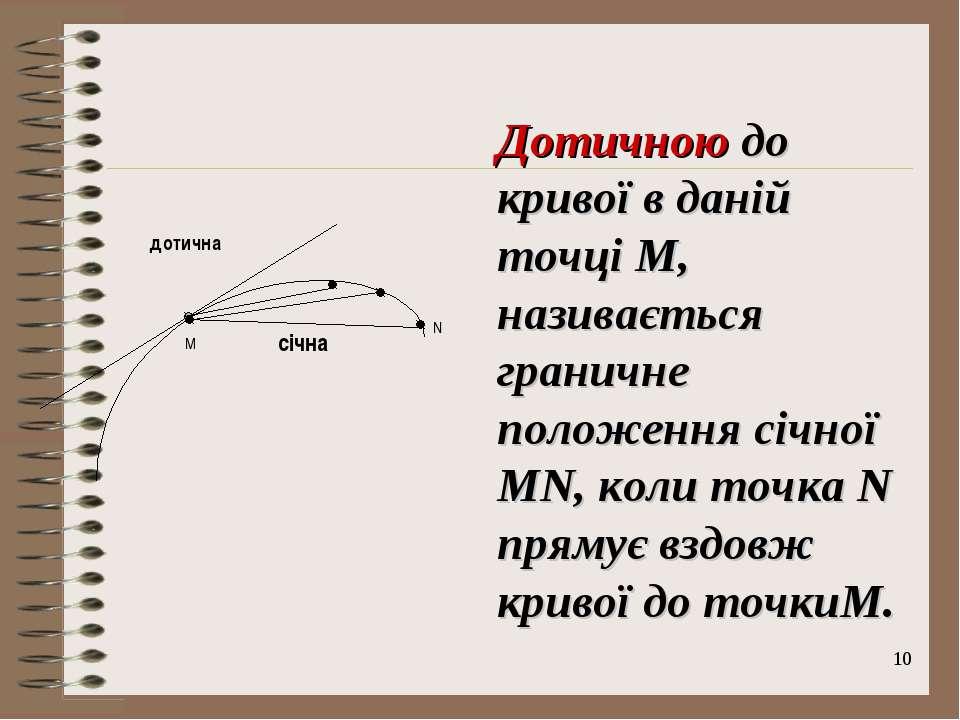 * N дотична січна M Дотичною до кривої в даній точці M, називається граничне ...
