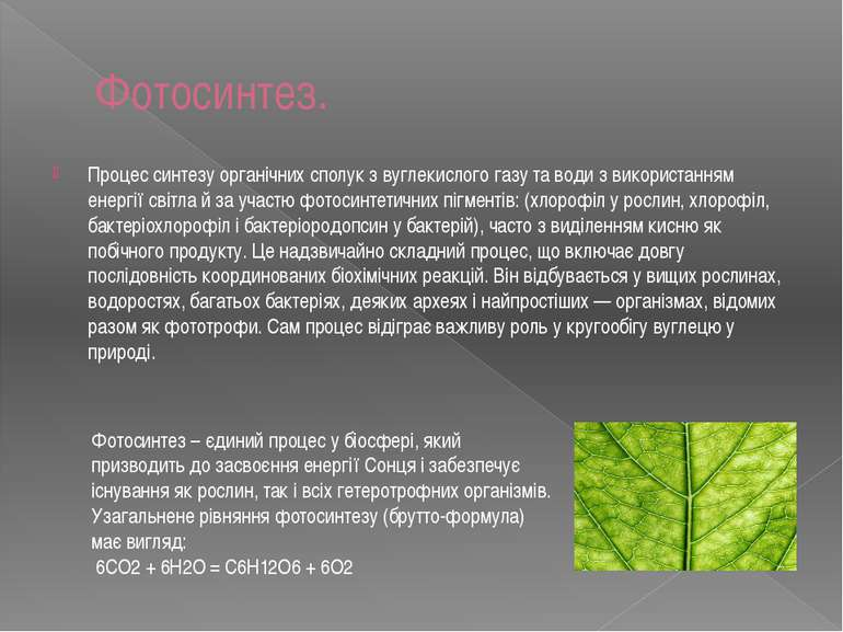 Фотосинтез. Процес синтезу органічних сполук з вуглекислого газу та води з ви...