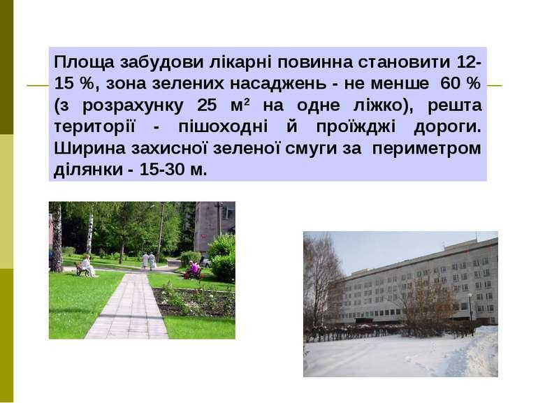 Площа забудови лікарні повинна становити 12-15 %, зона зелених насаджень - не...