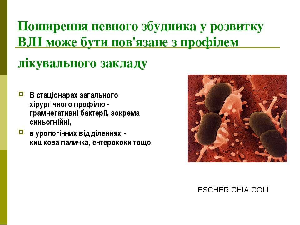 Поширення певного збудника у розвитку ВЛІ може бути пов'язане з профілем ліку...