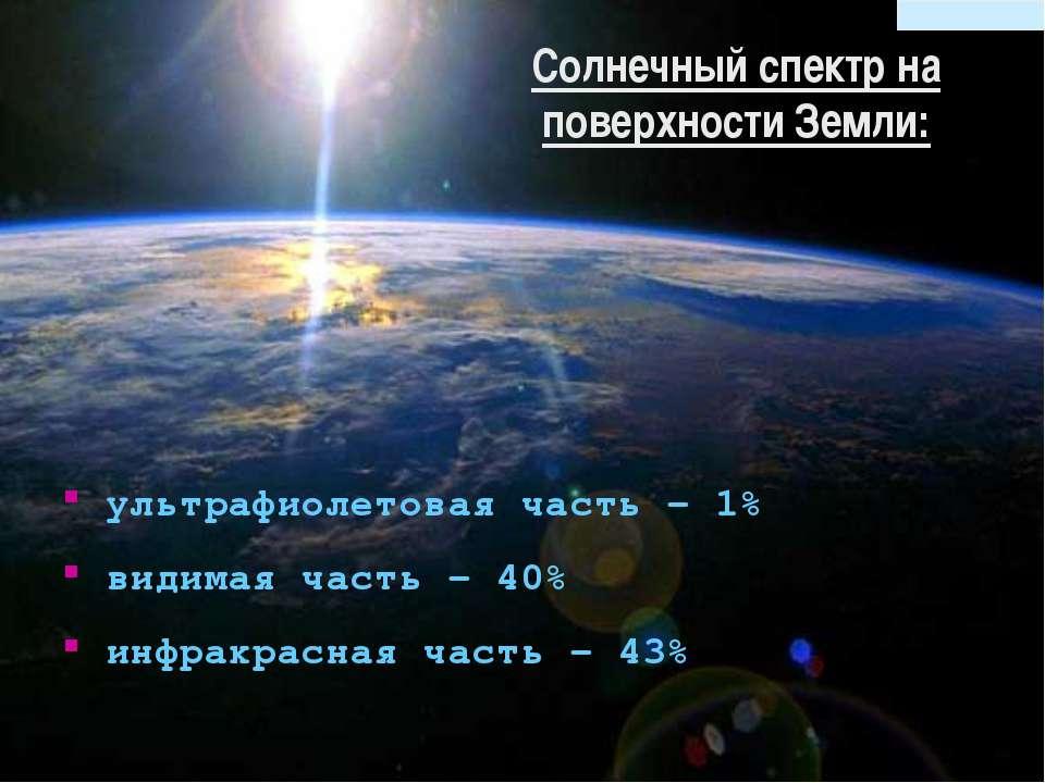 ультрафиолетовая часть – 1% видимая часть – 40% инфракрасная часть – 43% Солн...