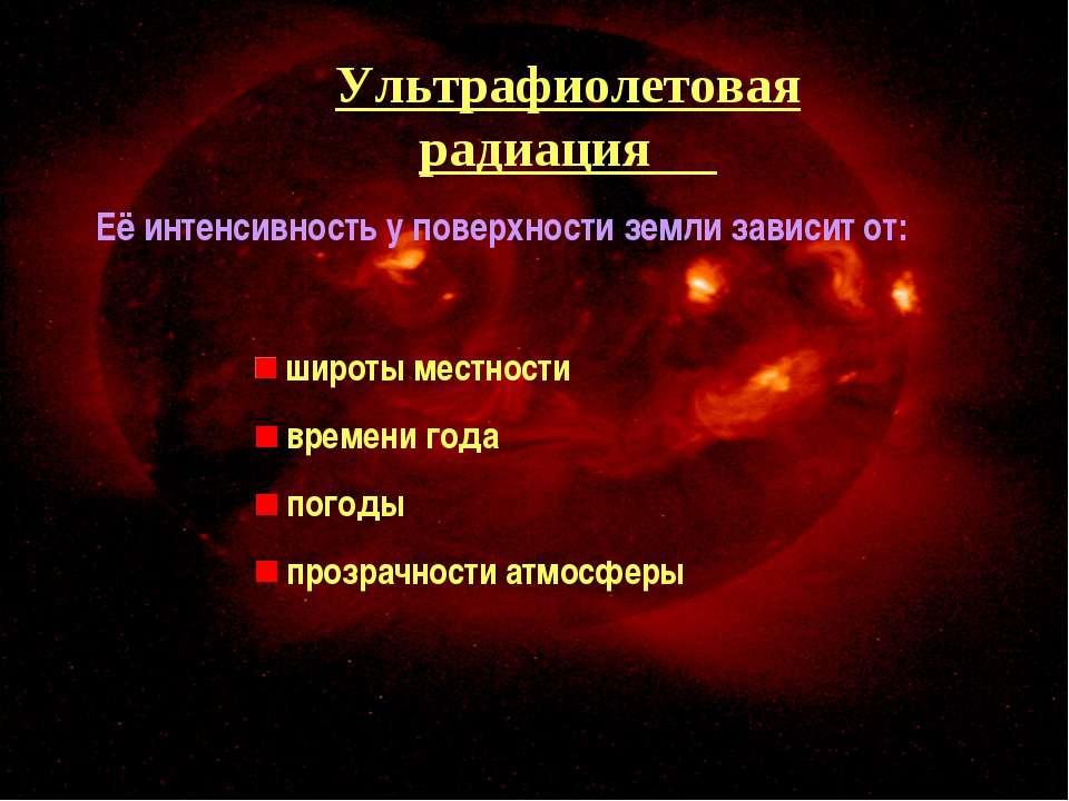 Ультрафиолетовая радиация Её интенсивность у поверхности земли зависит от: ши...